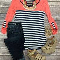 Savy Stripes Stripes 3/4 Top: Coral