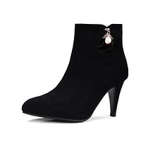 Pointed Toes Faux Suede Pearl Short Boots Spike Heel 9702
