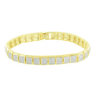 Square Link Design Bracelet 14K Yellow Gold Finish