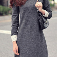 'The Jasmine' Gray Long Sleeve Lace Trimmed Dress