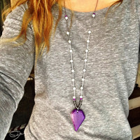 Boho meditation necklace, Native American arrowhead