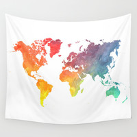Map of the world colored Wall Tapestry by Jbjart