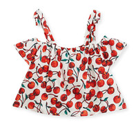 Milly Minis Eden Cherry-Print Off-the-Shoulder Top, Size 8-16