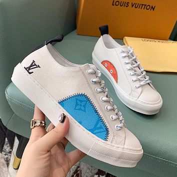 LV 2020 new canvas wild women's low-top sneakers shoes white