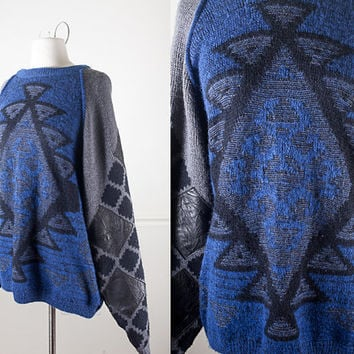 80s Tribal Patterned Sweater / Oversized Sweater with Leather Patches / Geometric Sweater / Black Slouchy Sweater / Retro Boyfriend Sweater