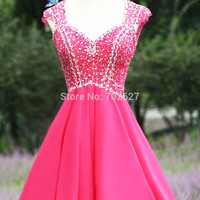 Vestido 2016 Res Cocktail Dresses Chiffon V Neck Capped Sleeveless Hollow Back Zipper Mini Crystal Beads Sequins Real Image Sexy