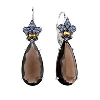 18K Gold And Oxidized Sterling Silver Lever back Drop Earrings With Smokey Quartz And Tanzanite