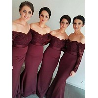 New Arrival Wine Red Long Mermaid Bridesmaid Dresses Strapless Off the Shoulder Full Sleeves Beaded Sweep Train Wedding Gowns