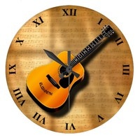 Acoustic Vintage Guitar With Musician Custom Name Large Clock