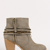 Strappy Chain Round Toe Cowboy Ankle Bootie