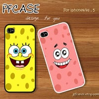Spongebob and Patrick star face twin style : Handmade Case for Iphone 4/4s , Iphone 5 Case Iphone