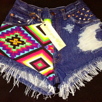 INDIO High waisted denim shorts super frayed with by jeansgonewild