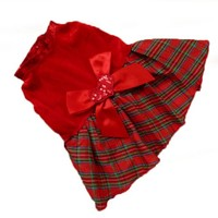 Etosell Pet Puppy Clothes Dog Red Grid Dress Costume Outwear Shirt Heart Bow Apparel S