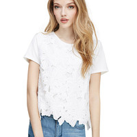 Lace Embroidered Short Sleeve T-shirt