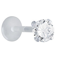 Clear 925 Sterling Silver Bioplastic Small Sparkle Tragus Cartilage Earring Stud or Labret Lip Ring