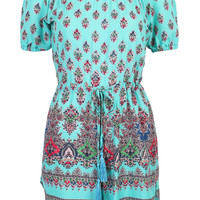 Cyan Floral Print  Off Shoulder Split Side Romper Playsuit