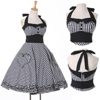 Grace Karin Vintage 50s Ball Cocktail Evening Prom Rockabilly Swing Party Cotton Halter Dress Size XS~XL = 1932666756