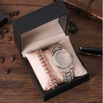 Rose Gold Ice Out Bling Watch and bracelet Stainless Steel