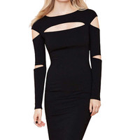 Black Cut Out Long Sleeve Dress
