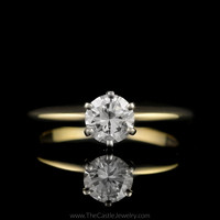 Beautiful .75ct Round Brilliant Cut Diamond Engagement Ring in 14K Yellow Gold