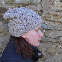Knit slouchy wool hat,Slouchy beanie,Spring hat,Womens merino hat
