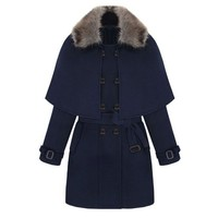 ZLYC Women's Detachable Faux Fur Collar Double Breasted Wrap Cape Poncho Winter Coat Jacket Overcoat