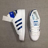 CREY8KY Adidas Superstar 'White/Blue' Laser Sequined Leather