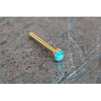 2mm Teal Opal Gold Nose Bone Gold Nose Stud Nose Ring