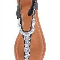 Flat Thong Sandal with Stone Cluster and Ankle Strap