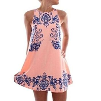 Women's Sleeveless China Floral Print Casual Loose Pink Dress