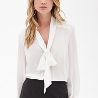 FOREVER 21 Classic Self-Tie Blouse Cream Large