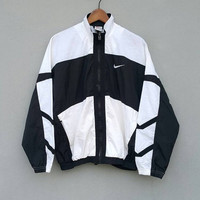 5% sales Black white nylon NIKE front logo swoosh nylon jacket windbreaker with zipper and front pocket, for running training, fits size M