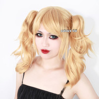 Harley Quinn blonde cosplay wig with two curly clips  . lolita hair