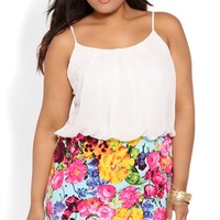 Plus Size Blouson Dress with Spaghetti Straps and Floral Skirt