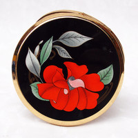 Powder Compact, Stratton Compact, Mirror Compact, Stratton Powder Compact, Flower, Floral, Black, Poppy, Red - 1980s