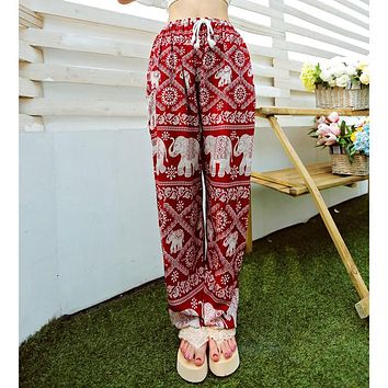 Bohemian Floral Elephant Print Pants for women 2017 Summer Beach Chiffon Trousers Elastic Waist Drawstring Loose Bottoms femme