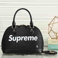 Perfect LV X Supreme Women Fashion Leather Satchel Bag Shoulder Bag Handbag