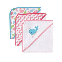 Luvable Friends Hooded Towels, Pink Whale, 3 Count