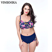 VINIKNIKA2017 Plus fat to increase the size of printing large cups split high waist swimwear Swimwear Summer Women Bikini  Suit