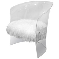 1970's Lucite Chair Upholstered in Mongolian Lamb