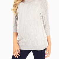 Grey Gold Chain Accent Knit Sweater Maternity Top