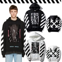 Fleece Hats Hoodies Hip-hop Skateboard Stripes Jacket [17371070483]