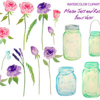 Wedding Clipart - hand painted watercolour mason jars and roses printable instant download scrapbook wedding invitations greeting cards