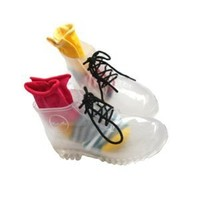 Transparent Girls' Women's Translucence Jelly Gumboots Rain Boot Shoes Gum Boots Martin Boots + 1 FREE Socks + 7 Color FREE Shoelaces Size 6