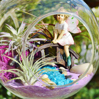 Fairy Garden Terrarium ~ Fairy on a Bridge with 3 Airplants - Glass Globe Terrarium ~ Spring ~ Gift Idea ~ Get Well Gift idea ~ Birthday