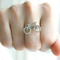 Bicycle Personalized Ring .925Silver Sterling Ring Silver Ring
