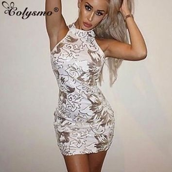 Colysmo Sleeveless Sexy Halter Floral White Sequin Dress Sequined Evening Party Bodycon Dress Autumn Mini Club Dresses  Vestidos