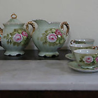 Vintage 1950's Lefton China Set 15 Piece Handpainted Tea & Coffee Collection
