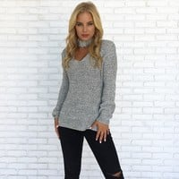 Salt & Pepper Speckled Knit Sweater