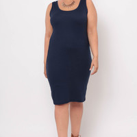 Plus Size Basic Tank Dress - Navy